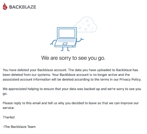 Backblaze's account deletion page