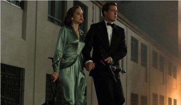 Allied Brad Pitt Marion Cotillard running and gunning
