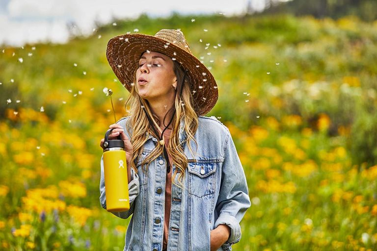 girl with sunflower hydro flask