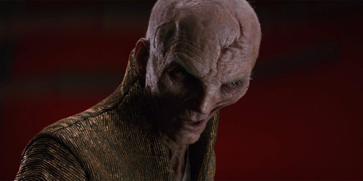 Supreme Leader Snoke scowling
