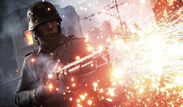 A soldier fires a shotgun in Battlefield 1