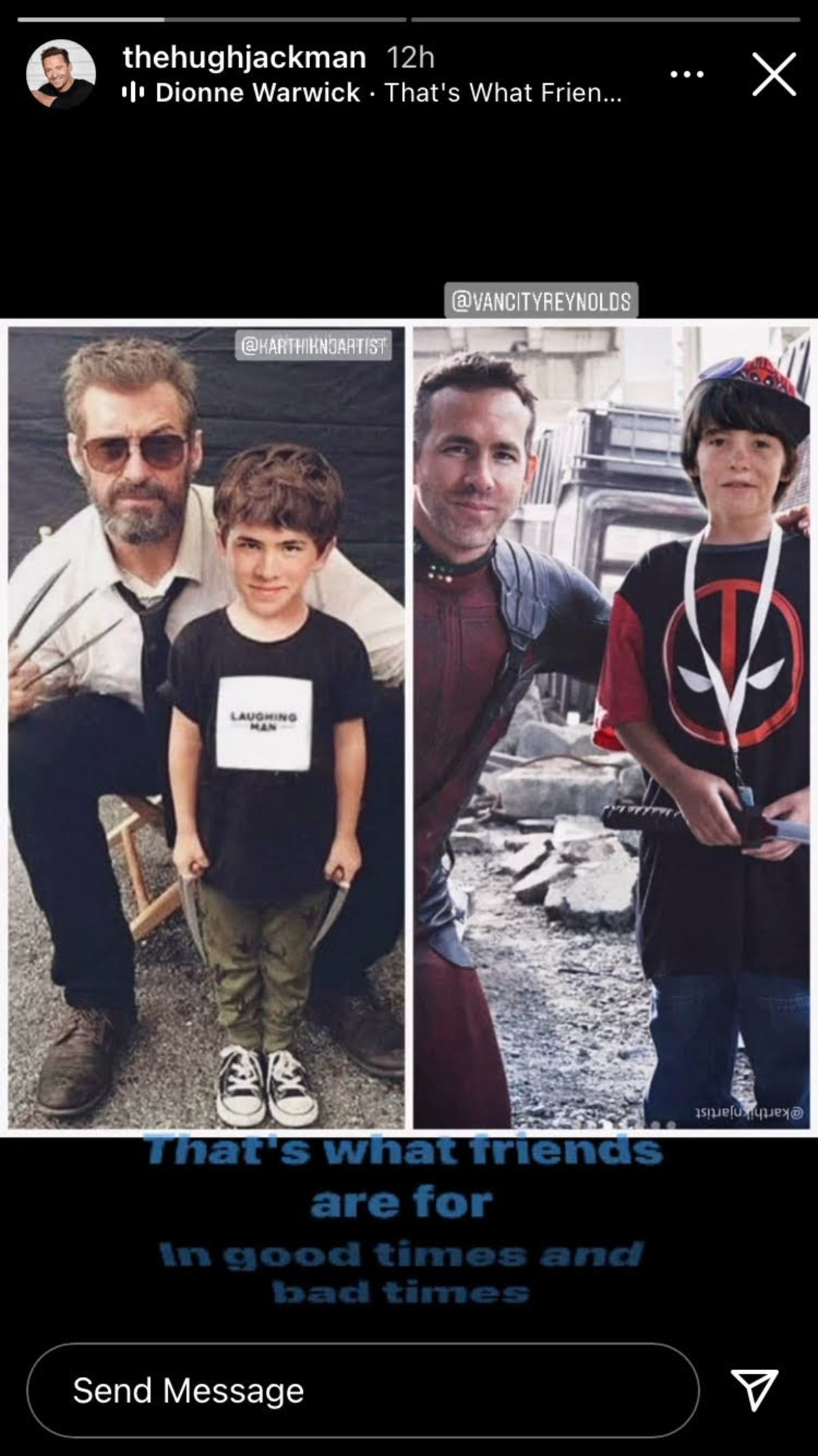 Hugh Jackman and Ryan Reynolds meeting their younger selves, in Logan and Deadpool.