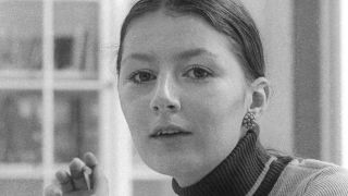 black and white portrait of Gail Coulson at Charisma in the 70s