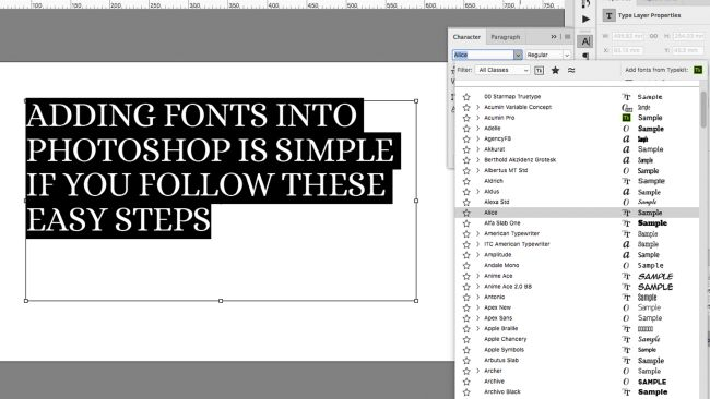 Photoshop tutorials: Fonts in interface