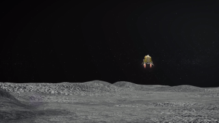 An artist's depiction of the Chandrayaan-2 lander, Vikram, preparing to alight on the lunar surface. The procedure occurred on Sept. 6, 2019, but appears to have gone wrong, with the Indian space agency losing contact with the lander late in the maneuver.