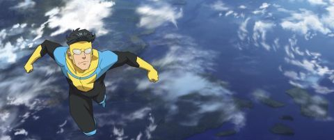 Invincible flies over the curve of the Earth