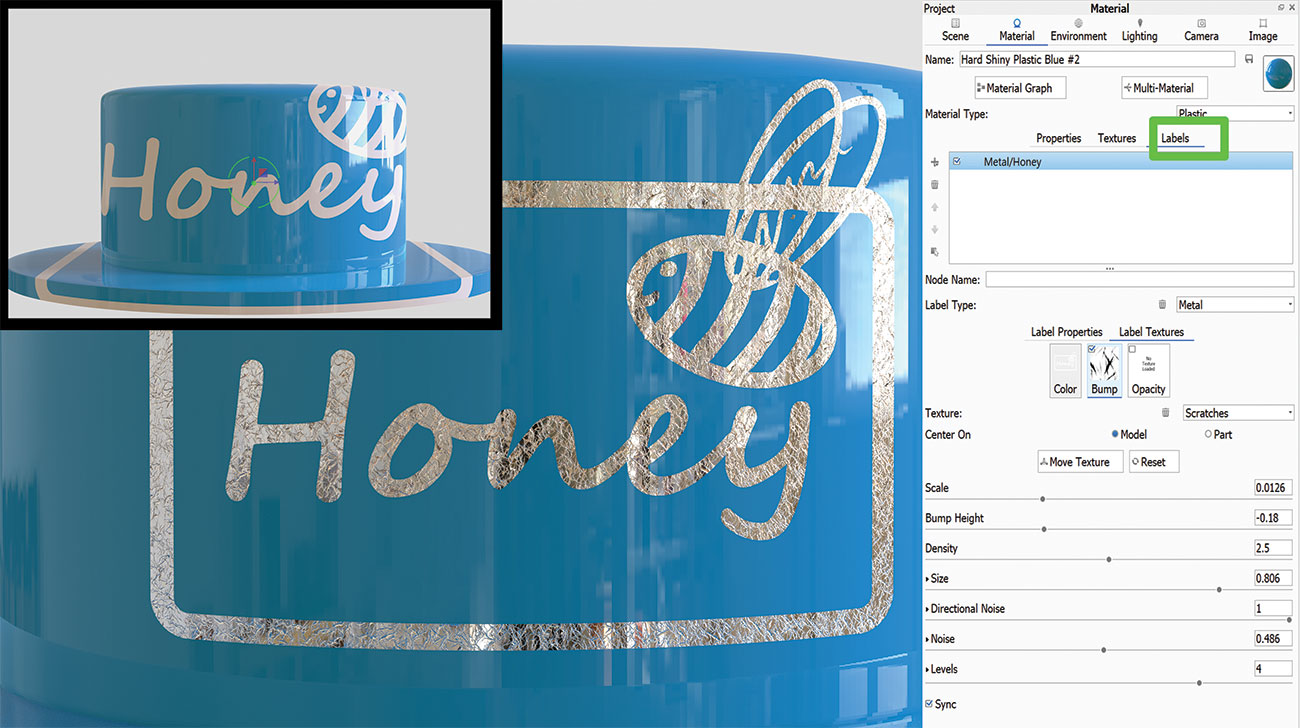 KeyShot rendering tips: Apply materials to labels