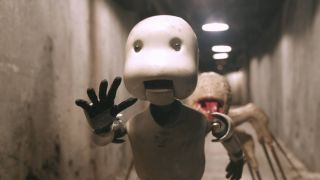 A robot against the underworld in 'Junk Head.'