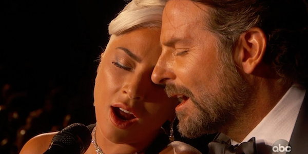 Lady Gaga and Bradley Cooper sing Best Original Song winner Shallow at the 2019 Oscars / 91st Academ