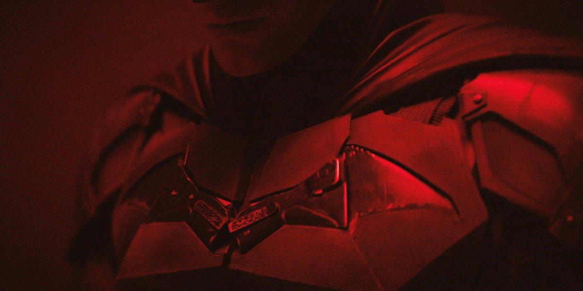 A close-up of the armor on Robert Pattinson's Batman suit