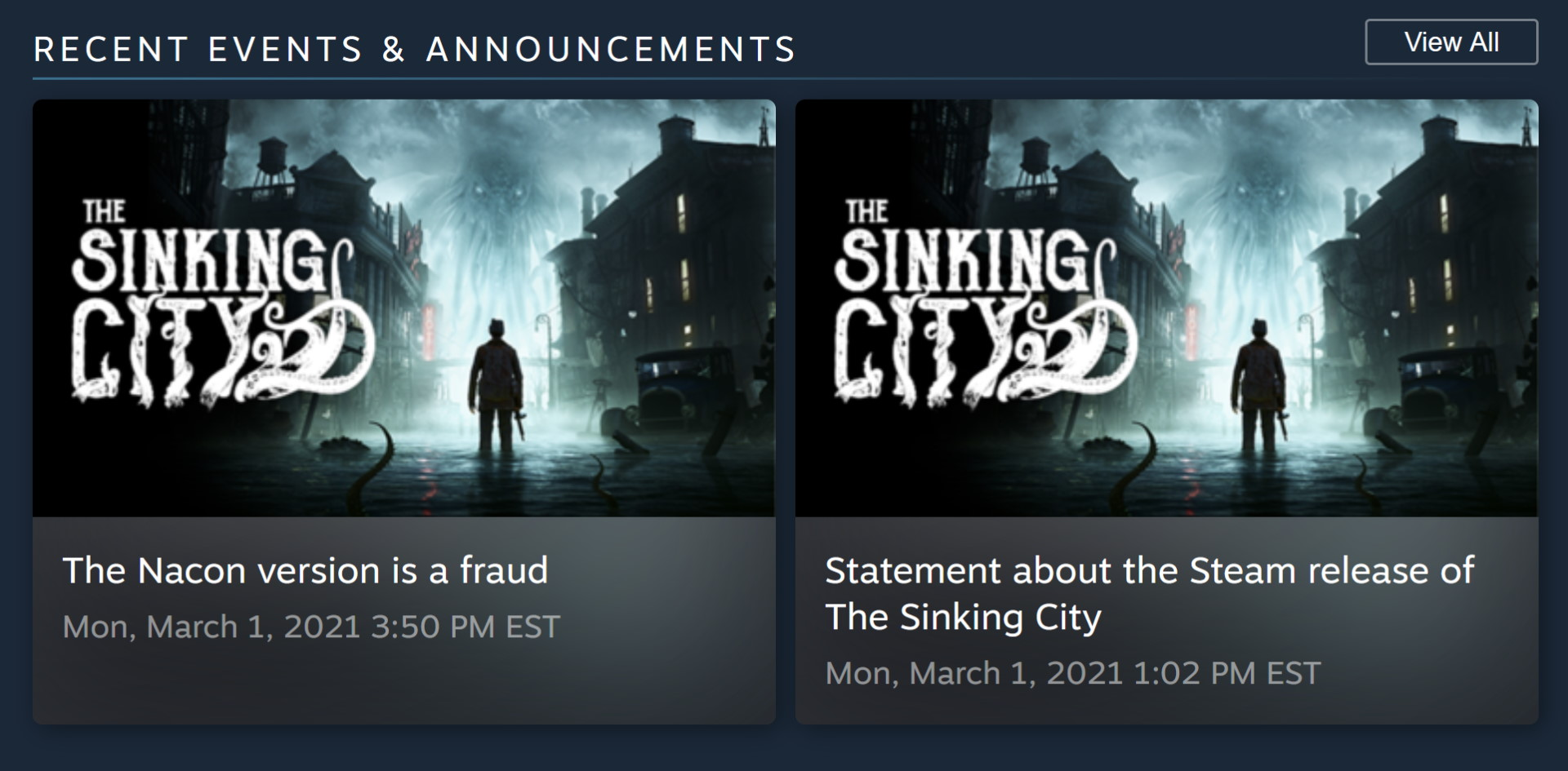 The Sinking City Steam announcements