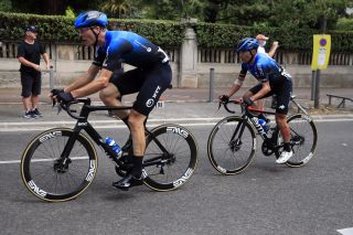 Max Walscheid leads NTT teammate Domenico Pozzovivo on the opening stage of the 2020 Tour de France