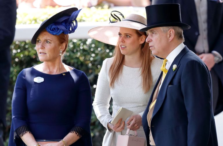 Princess Beatrice with her mother Sarah Ferguson and father Prince Andrew