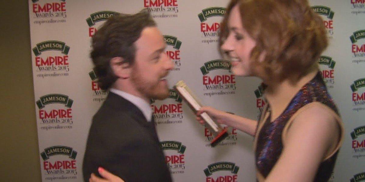 "Screenshot from ""Karen Gillan Says James McAvoy's A Great Kisser"" on YouTube"