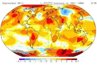 Temperature anomalies map, global warming, climate change