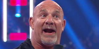 Goldberg reacting to Bobby Lashley in the ring WWE