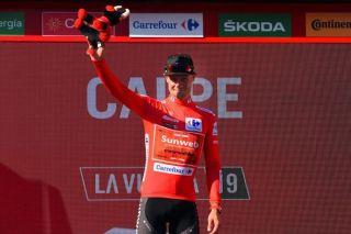 Nicolas Roche (Team Sunweb) in the red jersey at the Vuelta a Espana