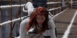 Scarlett Johansson as Black Widow, superhero landing