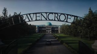 The Ravencroft front gate in Venom: Let There Be Carnage