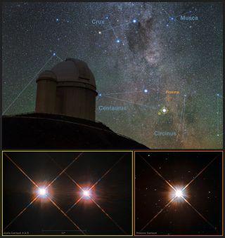Proxima Centauri over La Silla Observatory