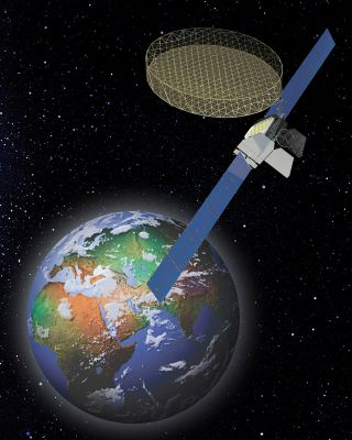 An artist's illlustration of the Thuraya 2 satellite.