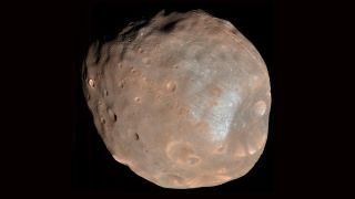 An image of Mars' moon Phobos, taken by the High Resolution Imaging Science Experiment camera on NASA's Mars Reconnaissance Orbiter, on March 23, 2008.