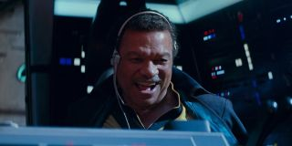 Lando flying the Millennium Falcon