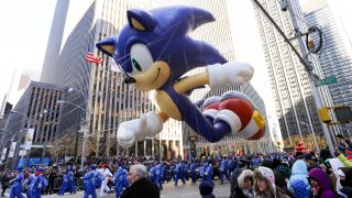 inflatable Sonic the hedgehog in New York