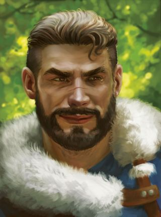 Bearded warrior with a white fur trimmed coat