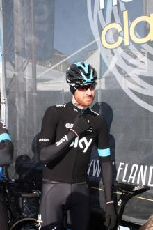 Bradley Wiggins (Sky) waits to sign on ahead of Omloop Het Nieuwsblad.