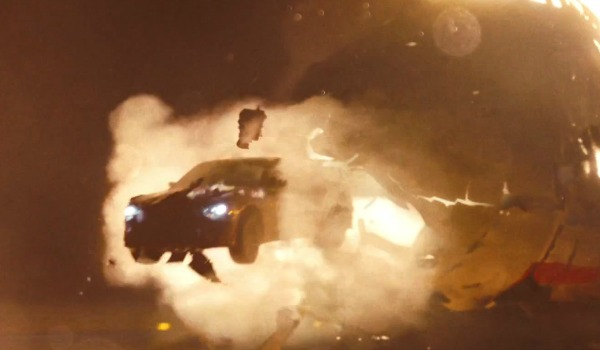 Car flying out of airplane in Fast & Furious 6