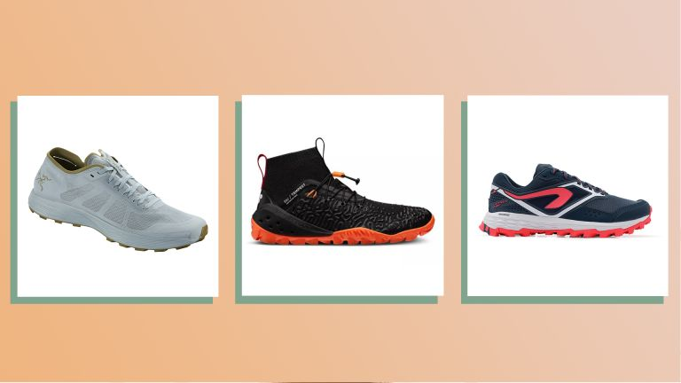 product shots of three of w&h's picks for the best trail running shoes for women on an orange background