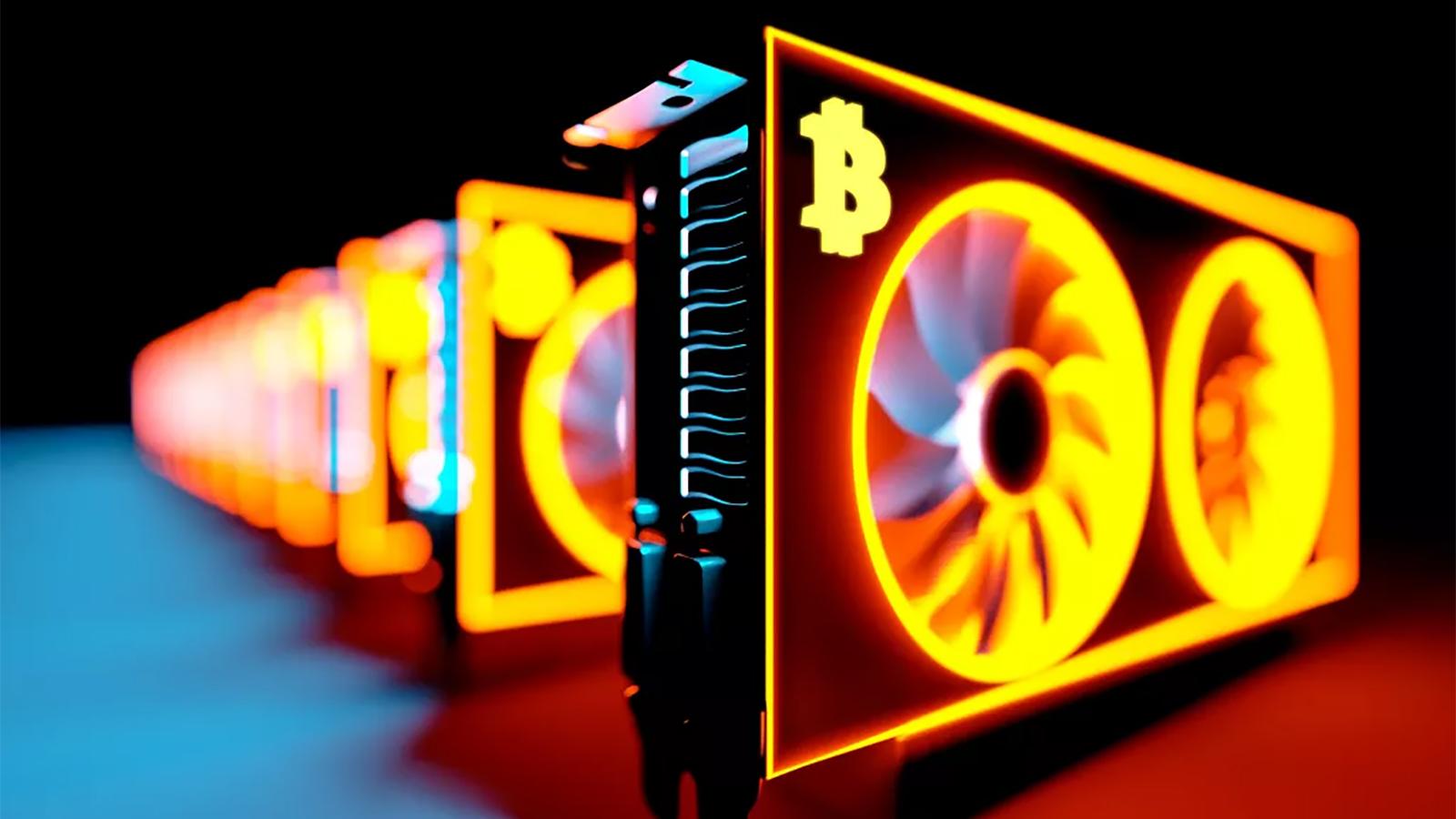 An Array Of Graphics Cards Mining Bitcoin