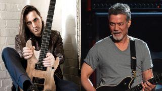 A montage of Eddie Van Halen and Nuno Bettencourt