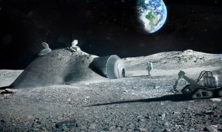 Artist's illustration of an outpost on the moon.