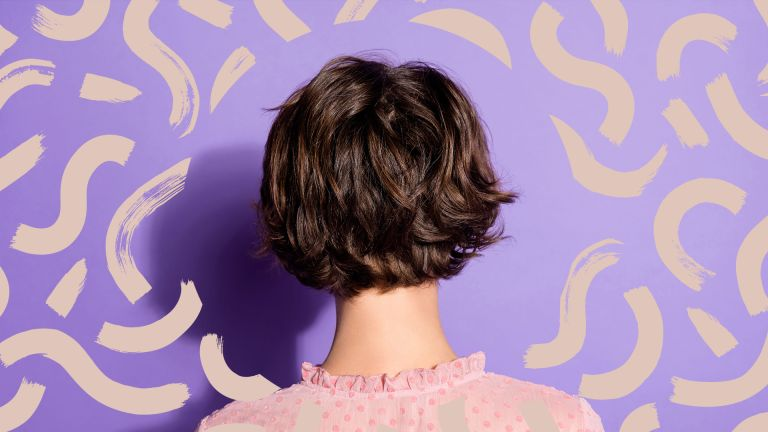 bob hairstyles for women main image of showing a rear view close up on a woman with short brown hair on a purple background with beige swirls