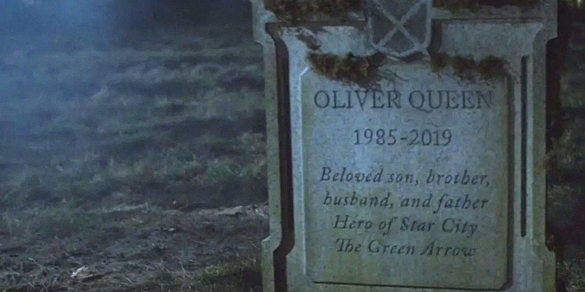 Oliver Queen headstone Arrow Season 7 finale The CW