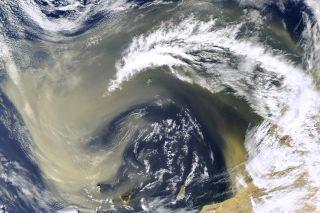 This NASA satellite image shows dust over the Sahara Desert.
