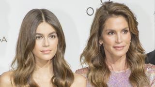 """Kaia Gerber and Cindy Crawford attend """"Her Time"""" Omega Photocall as part of the Paris Fashion Week Womenswear Spring/Summer 2018 on September 29, 2017 in Paris, France."""