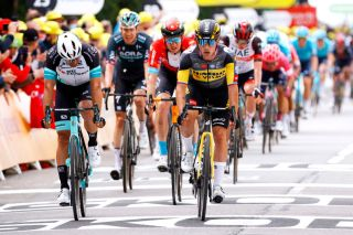 Michael Matthews (BikeExchange) wins the sprint for second on stage 1 of the Tour de France