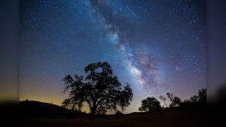 """The Milky Way and several """"shooting stars"""" or meteors from the Perseid meteor shower in 2015."""