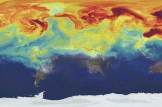 Still from animation showing how carbon dioxide moves around the Earth