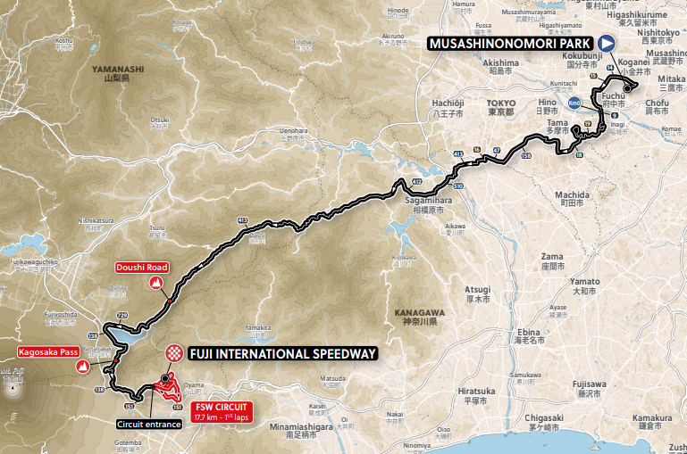 Women's Road Race Route for the 2020 Tokyo Olympic Games