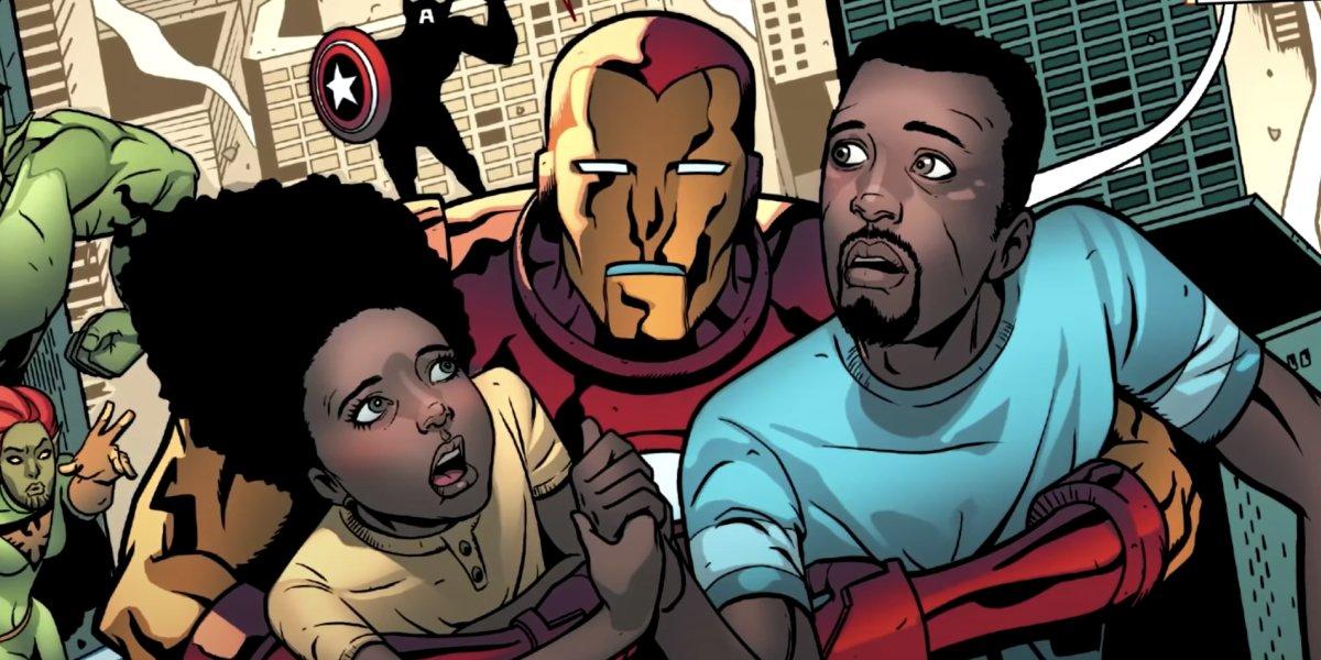 Iron Man saves Riri Williams and her stepfather, Gary