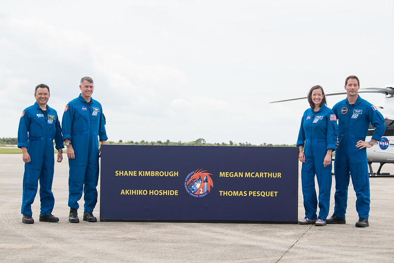 From left to right, Japan Aerospace Exploration Agency astronaut Akihiko Hoshide, NASA astronauts Shane Kimbrough and Megan McArthur, and European Space Agency astronaut Thomas Pesquet pose for a photo after arriving at the Launch and Landing Facility at NASA's Kennedy Space Center on April 16, 2021. The quartet will go to the space station on SpaceX's Crew-2 mission, which is scheduled to launch on April 22.