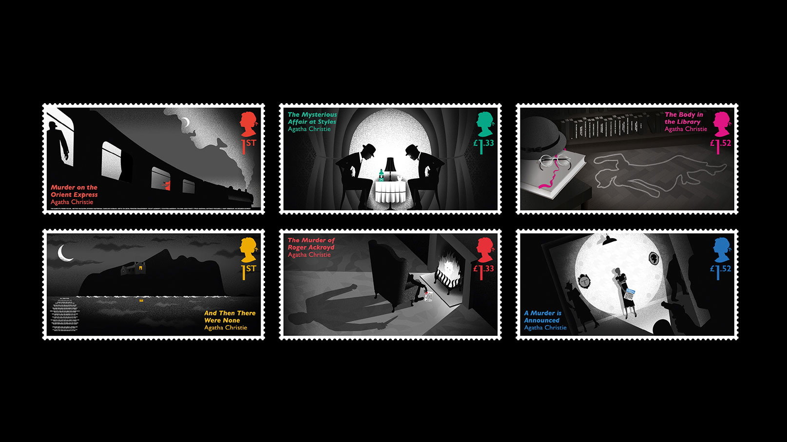 Agatha Christie stamps by Studio Sutherl&