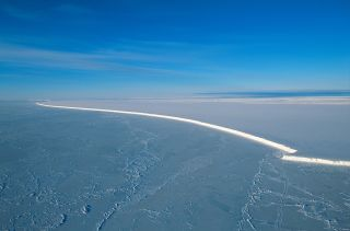 The Ross Ice Shelf in Antarctica is huge, about the size of France.