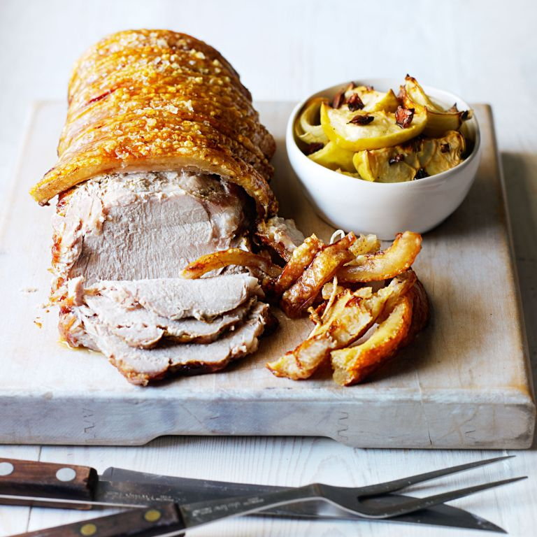 Roasted Pork Loin with Baked Apple and Onion Chutney recipe-recipe ideas-new recipes-woman and home