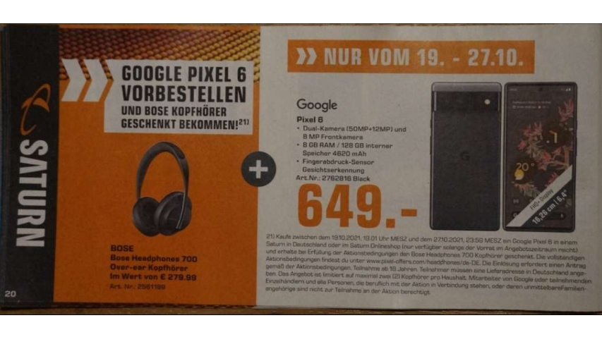 A listing for the Pixel 6 at German retailer Saturn