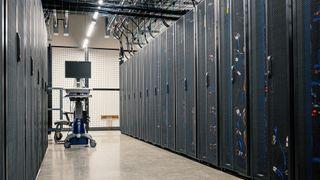 a corridor in a server room